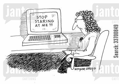 pc monitors cartoon humor: Stop Staring at Me!