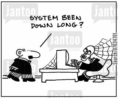 sys admin cartoon humor: System been down long?