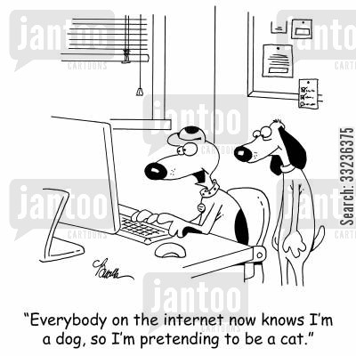 online date cartoon humor: 'Everybody on the internet now knows I'm a dog, so I'm pretending to be a cat.'