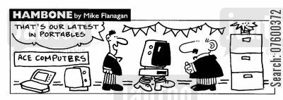 palmtops cartoon humor: STRIP Hambone: Latest in portable computers