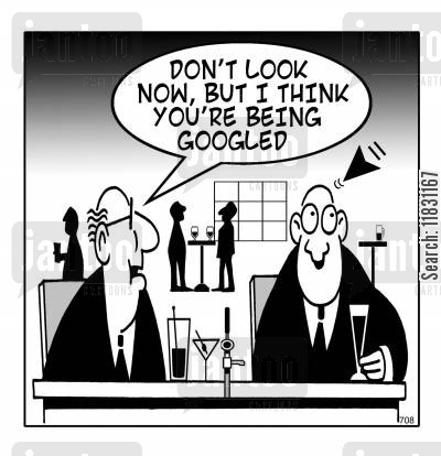 background checks cartoon humor: Don't look know, but I think you're being Googled.