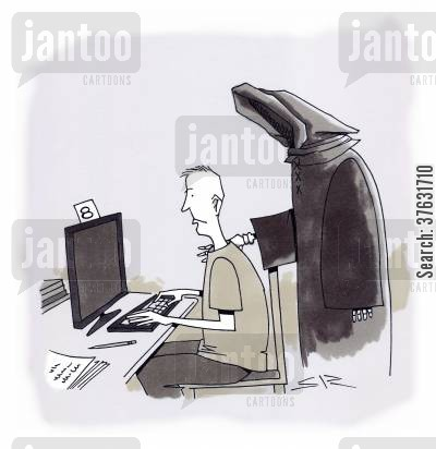 ending cartoon humor: Grim Reaper figure of Death ending time of user of public computer