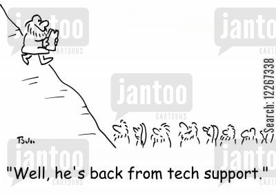 religious laws cartoon humor: 'Well, he's back from tech support.'