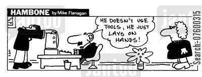 tools of the trade cartoon humor: STRIP Hambone: Tool-less computer repairman