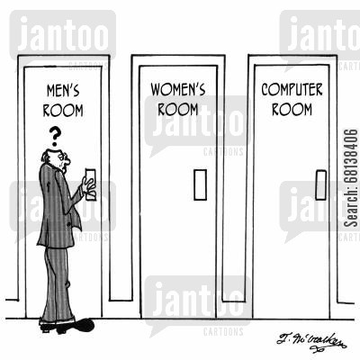 office computer cartoon humor: A man entering the 'Men's Room' looks quizzically at the 'Computer Room.'