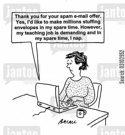 spam mail cartoon humor: Thank you for your spam email offer. . .