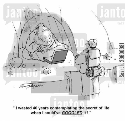 mountain guru cartoon humor: 'I wasted 40 years contemplating the secret of life when I could've googled it!'