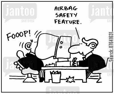 computer feature cartoon humor: 'Airbag safety feature.'
