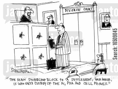 settled cartoon humor: 'The main stumbling block to a settlement, your honour, is who gets custody of the PC, PDA and cell phones.'