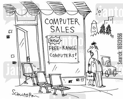 free range foods cartoon humor: Free Range Computers.