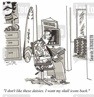 campus cartoon humor: 'I don't like these daisies, I want my skull icons back,'