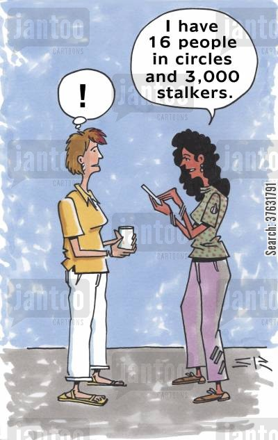 chat room cartoon humor: 'I have 16 people in circles and 3,000 stalkers,'