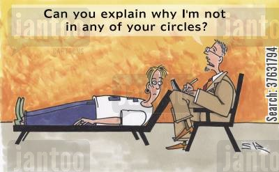profile cartoon humor: 'Can you explain why I'm not in any of your circles'