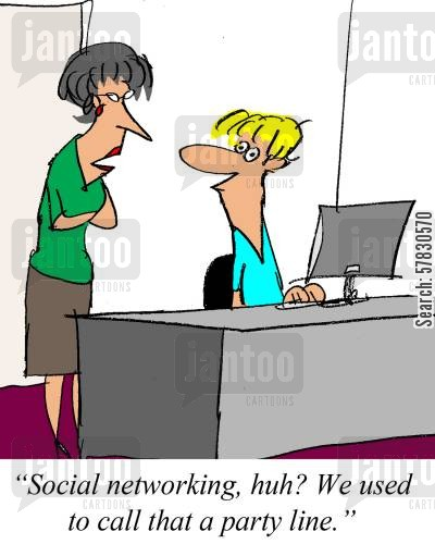 chat room cartoon humor: 'Social networking, huh? We used to call that a party line.'