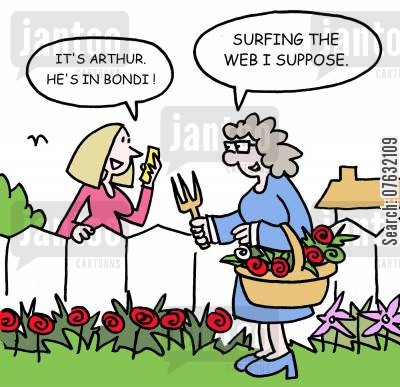 surfing the web cartoon humor: It's Arthur. He's in Bondi! Surfing the web I supose.