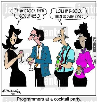 computer coders cartoon humor: 'Programmers at a cocktail party.'
