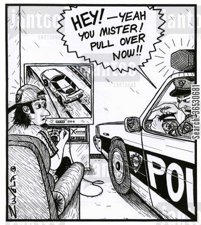 pull cartoon humor: 'Hey! - Yeah you mister! Pull over now!!'