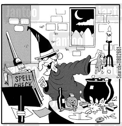 spell checks cartoon humor: Witch's spell check.