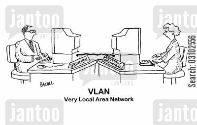 lan cartoon humor: 'VLAN - Very Local Area Network.'