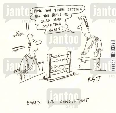 it consultant cartoon humor: Early IT Consultants.