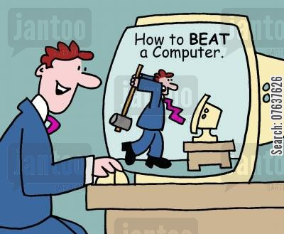 office jobs cartoon humor: How to beat a computer
