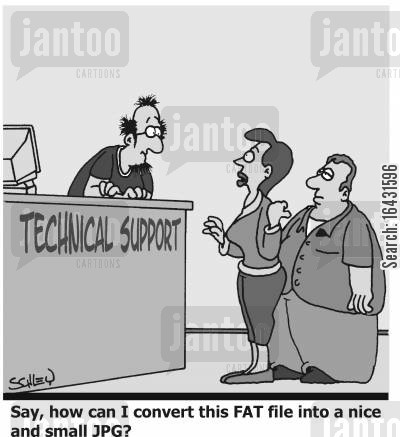 jpg cartoon humor: 'Say, how can I convert this FAT file into a nice and small JPG?'