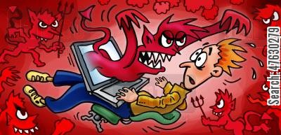 the internet cartoon humor: Dark forces from internet attack you!