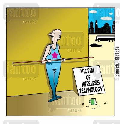 tightrope walker cartoon humor: Victim of wireless technology.