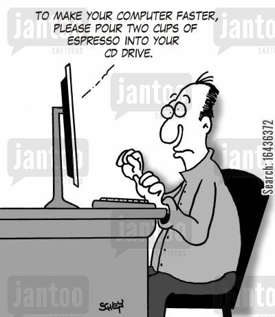 cd drive cartoon humor: To make your computer faster, please pour two cups of Espresso into your CD drive.