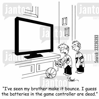 computer gaming cartoon humor: 'I've seen my brother make it bounce. I guess the batteries in the game controller are dead.'