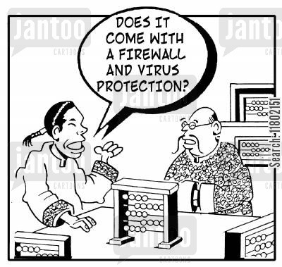 firewalls cartoon humor: 'Does it come with a firewall and virus protection?' Chinese man buying abacus.