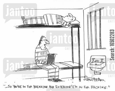 computer crimes cartoon humor: '...So you're in for breaking and entering? I'm in for hacking.'
