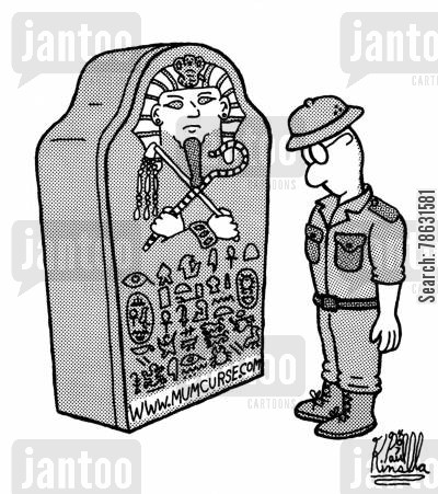 hieroglyphic cartoon humor: Mummy curse website www.mumcurse.com