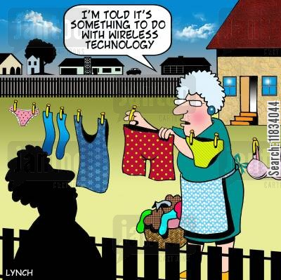 clothes lines cartoon humor: 'I'm told it's something to do with wireless technology.'