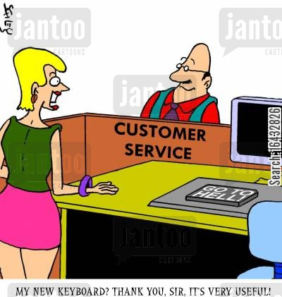 go to hell cartoon humor: 'My new keyboard? Thank you, sir, it's very useful!'