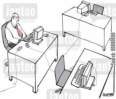 overworked cartoon humor: Man with mice for three computers