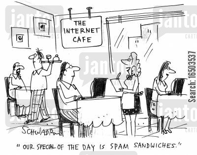 modems cartoon humor: 'Our special of the day is spam sandwiches.'