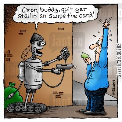 atms cartoon humor: 'C'mon, buddy, quit yer stallin' an' swipe the card!'