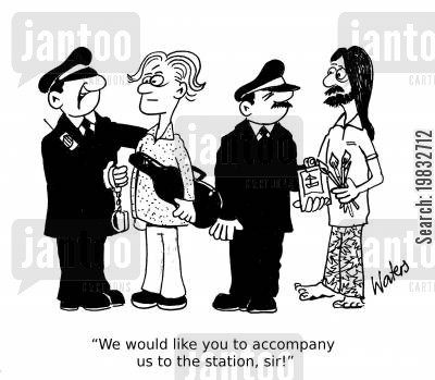 stations cartoon humor: 'We would like you to accompany us to the station, sir!'