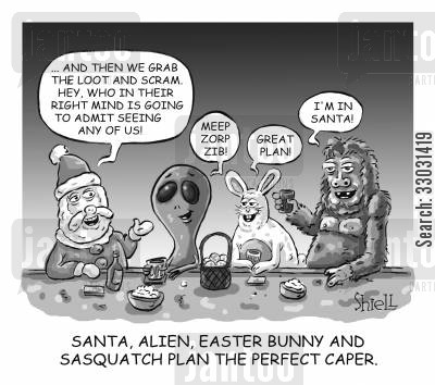 space creatures cartoon humor: Santa, Alien, Easter Bunny and Sasquatch plan the perfect caper.