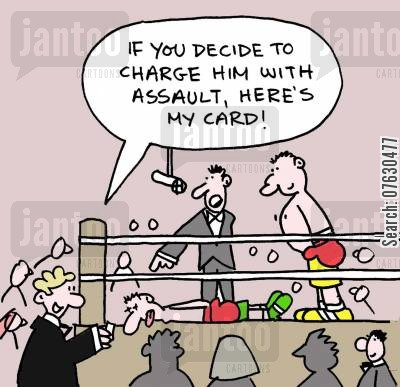 press charges cartoon humor: If you decide to charge him with assault, here's my card!