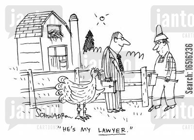 animal farms cartoon humor: 'He's my lawyer.'