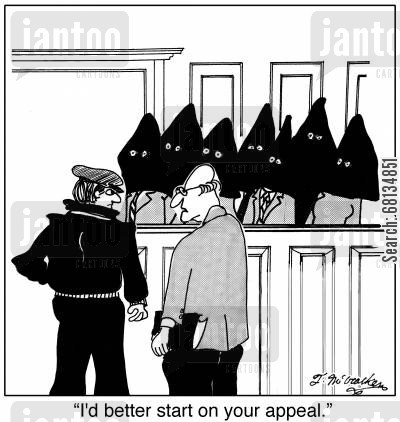 defense attorney cartoon humor: 'I'd better start on your appeal.'