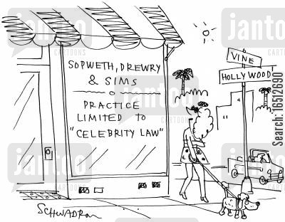 celebrity law cartoon humor: Sopwerth, Drewry & Sims  Practice limited to 'Celebrity law'
