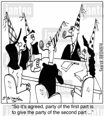party goer cartoon humor: 'So it's agreed, party of the first part is to give the party of the second part ...'