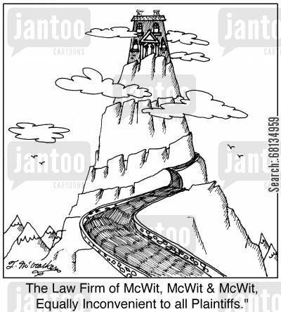 defense attorney cartoon humor:  'The Law Firm of McWit, McWit & McWit, Equally Inconvenient to all Plaintiffs.'