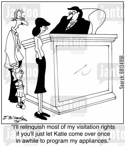 techie cartoon humor: 'I'll relinquish most of my visitation rights if you'll just let Katie come over once in awhile to program my appliances.'