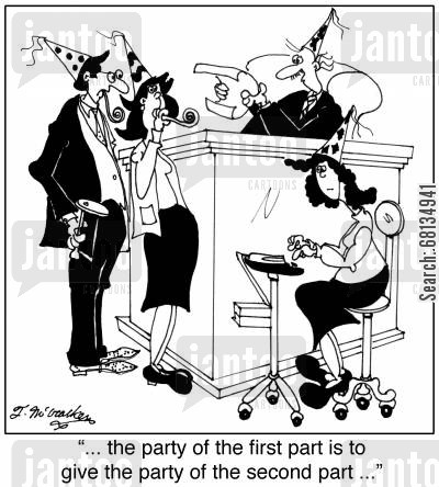 party goer cartoon humor: '... the party of the first part is to give the party of the second part ...'