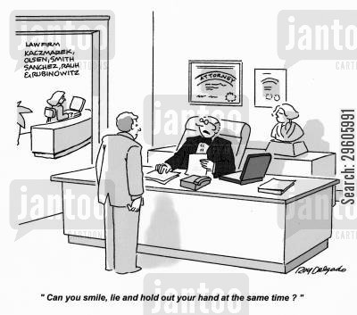 swears cartoon humor: 'Can you smile, lie and hold out your hand at the same time?'
