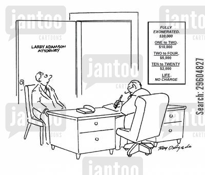 cases cartoon humor: Attorney basic fees.
